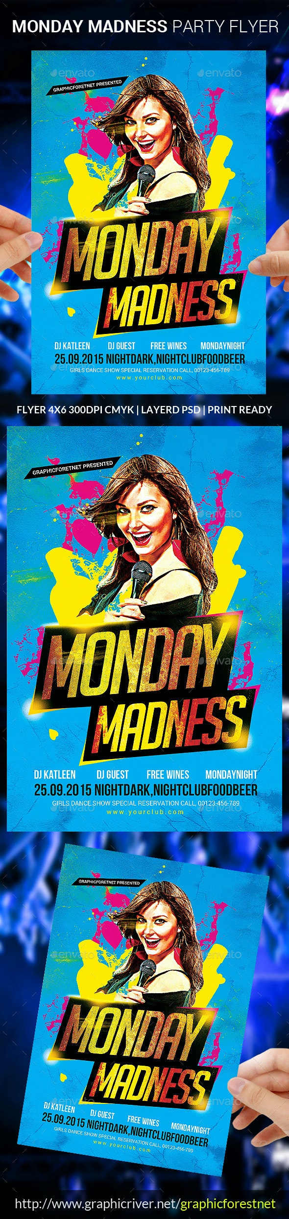 Monday Madness Party Flyer Psd - Clubs & Parties Events