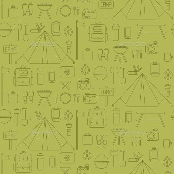 Seamless Pattern of Flat Colorful Vector Camping