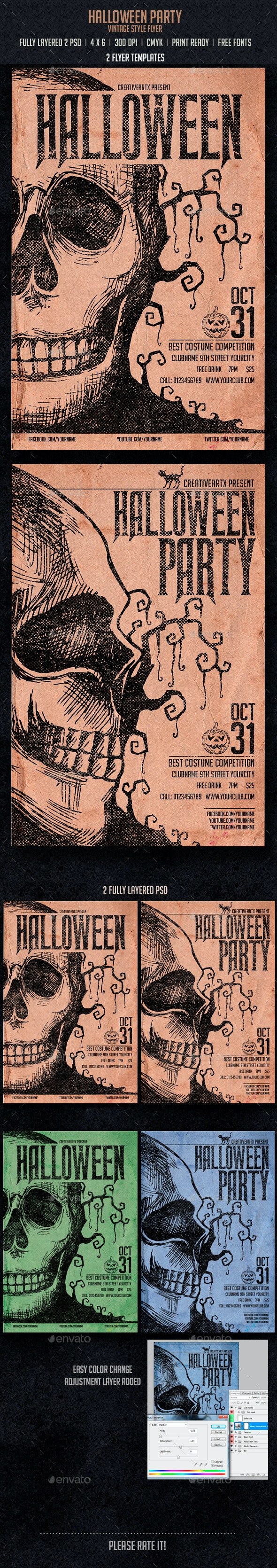 Vintage Halloween Party - Events Flyers