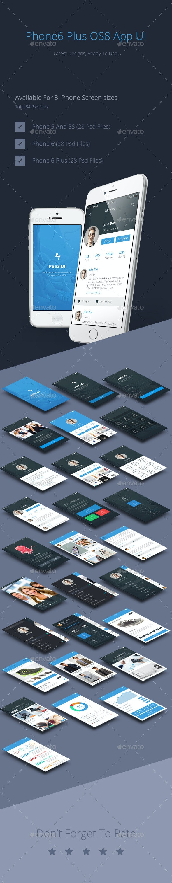 Phone6 Plus OS8 Style App UI - User Interfaces Web Elements