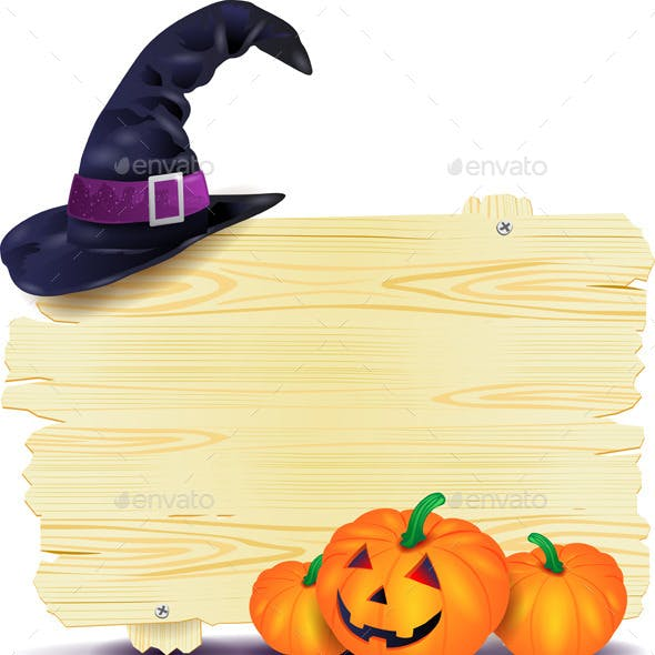 Halloween Signboard with Hat and Pumpkins