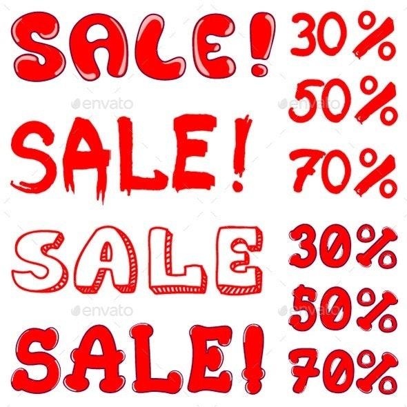 Set of Inscription Sale - Miscellaneous Vectors