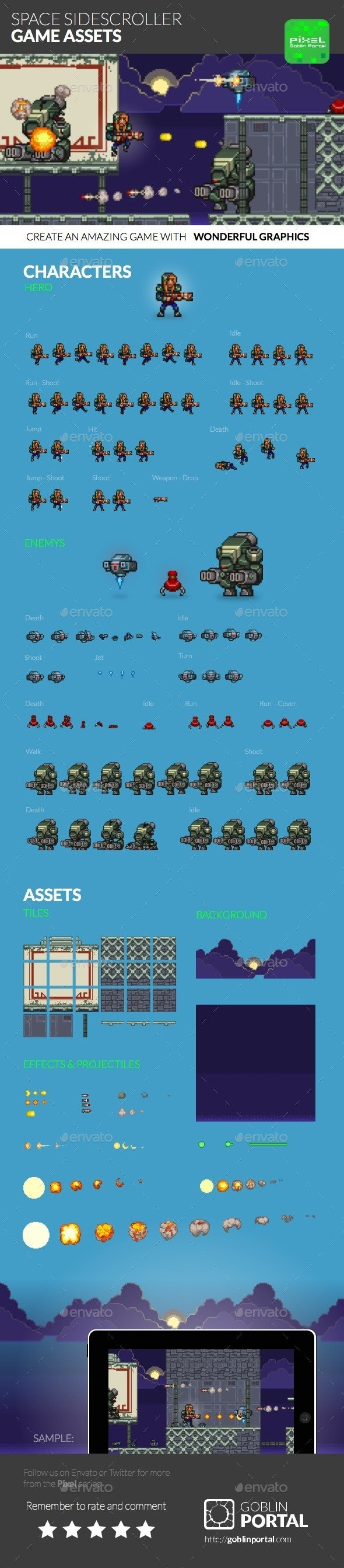 Space Sidescroller Game Assets - Game Kits Game Assets