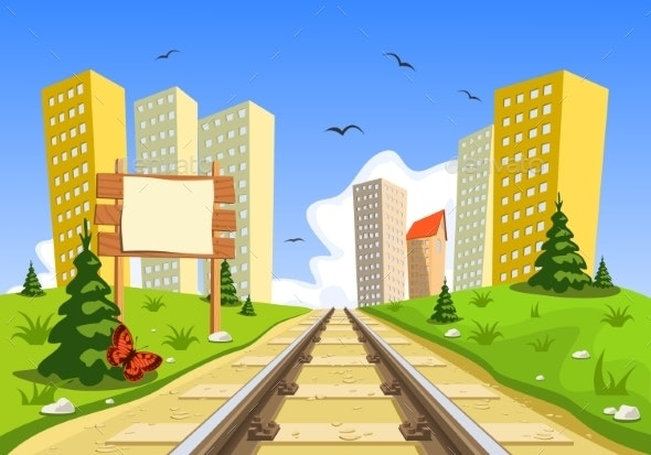 Train Route into the City through the Landscape - Buildings Objects