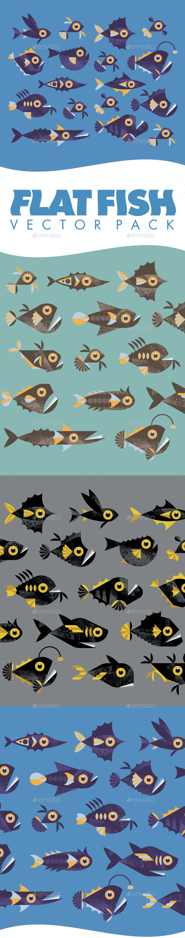 Flat Fish - Vector Pack - Animals Characters