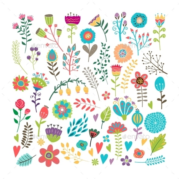 Hand Drawn Floral Elements - Flowers & Plants Nature