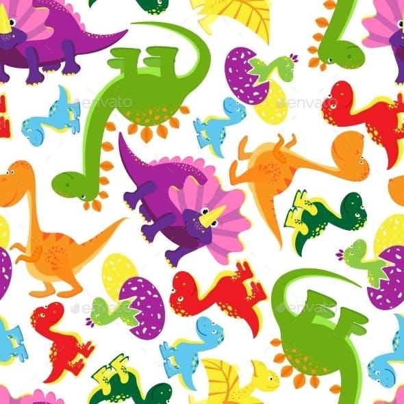 Seamless Background Pattern of Dinosaurs