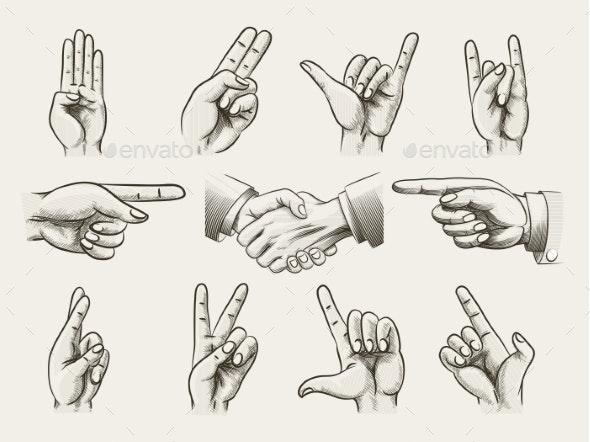 Set of Vintage Style Hand Gestures - Web Elements Vectors