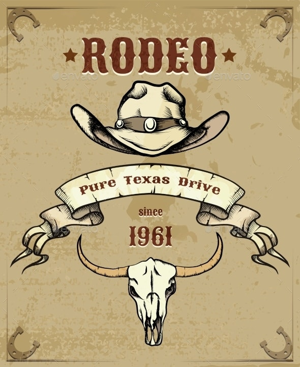 Rodeo Themed Graphic with Cowboy Hat and Skull - Sports/Activity Conceptual