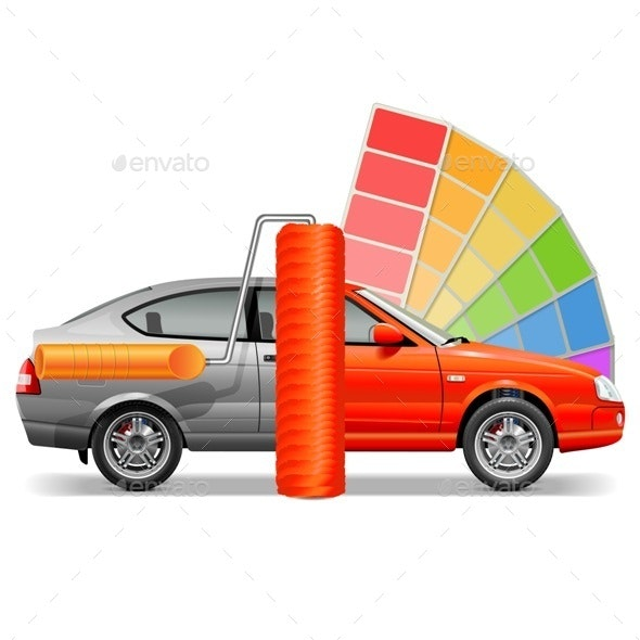 Vector Car with Paint Brush - Industries Business