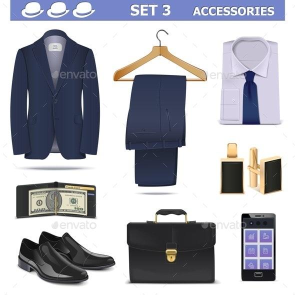 Vector Male Accessories Set 3 - Business Conceptual