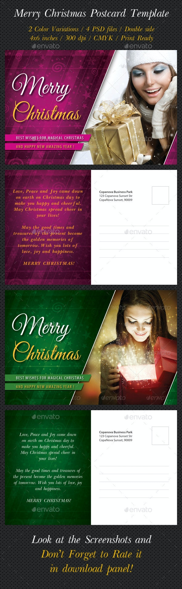 Merry Christmas Postcard Template - Holiday Greeting Cards