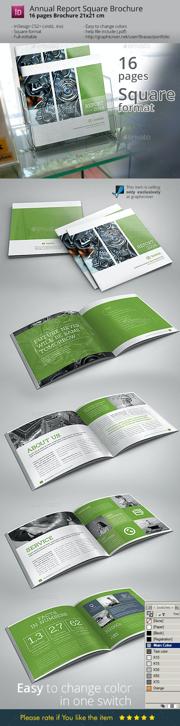 Annual Square InDesign Brochure - Informational Brochures