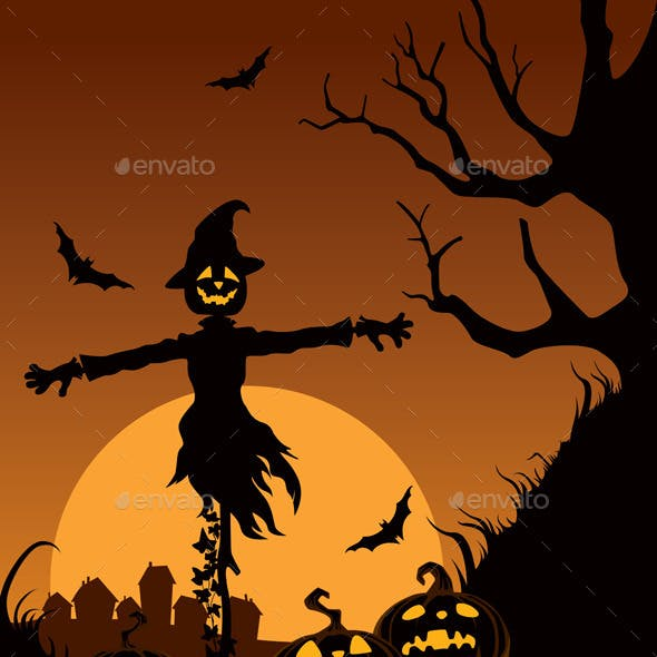 Scarecrow in Halloween Night