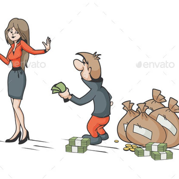 Woman Rejecting Male Money