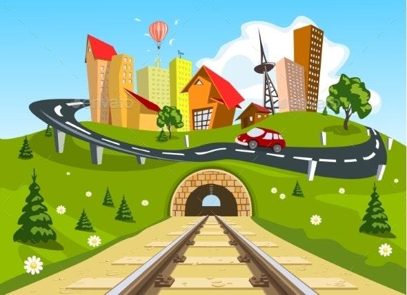 Railroad Tracks Through Landscape to the City - Landscapes Nature
