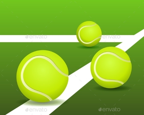 Tennis Balls on the Court - Sports/Activity Conceptual