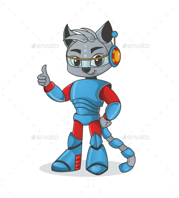 Astronaut Cat Gesturing Thumbs Up - Animals Characters