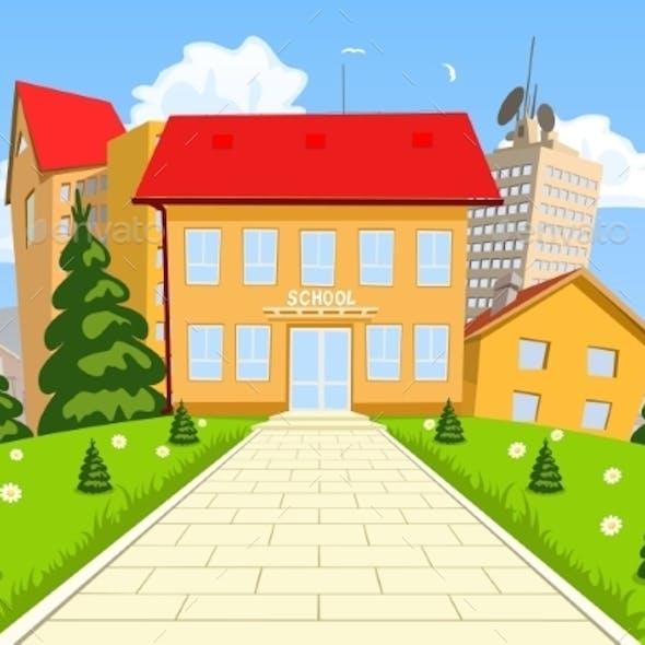 Vector Cartoon Modern School Building