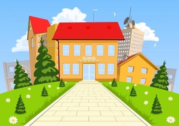 Vector Cartoon Modern School Building - Education Backgrounds