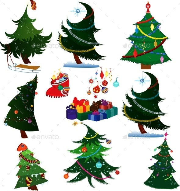 Cartoon Christmas Trees with Presents - Christmas Seasons/Holidays