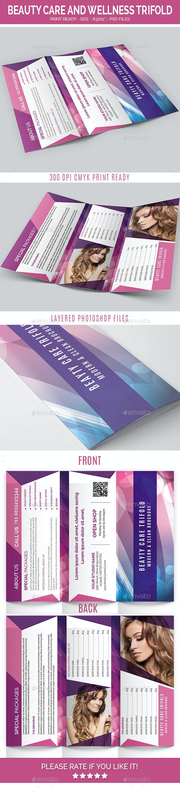 Beauty care and wellness trifold - Brochures Print Templates