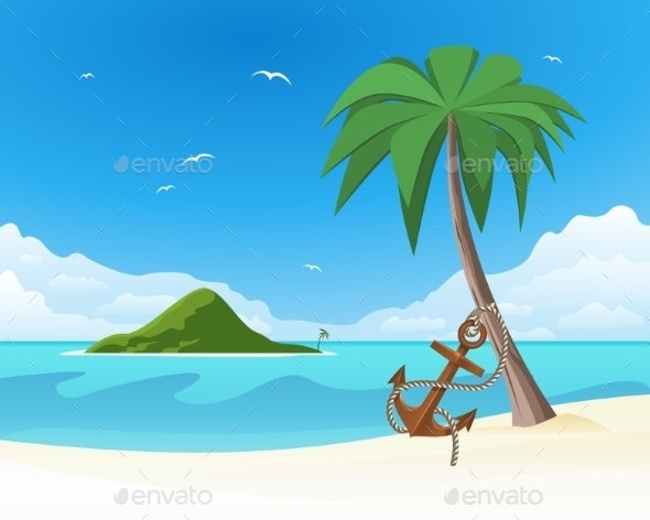 Anchor Leaning against the Palm on Tropical White  - Landscapes Nature