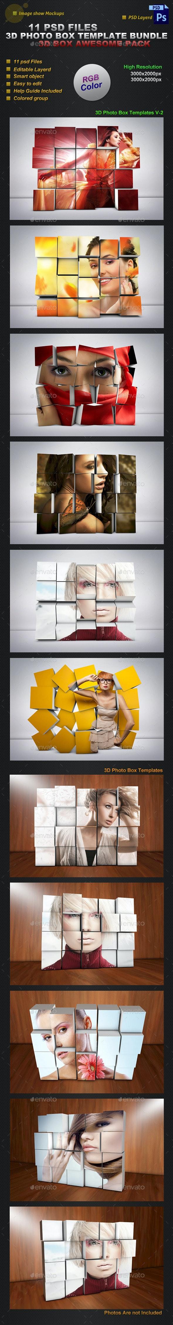 3D Photo Box Templates Bundle - Miscellaneous Photo Templates