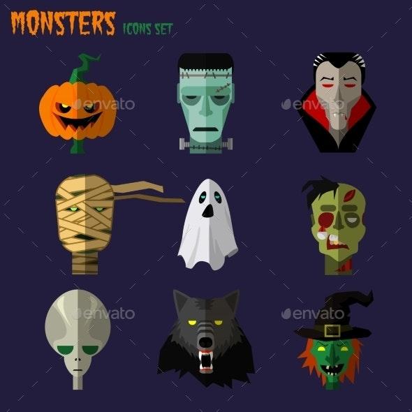 Monsters Set of Icons  - Halloween Seasons/Holidays