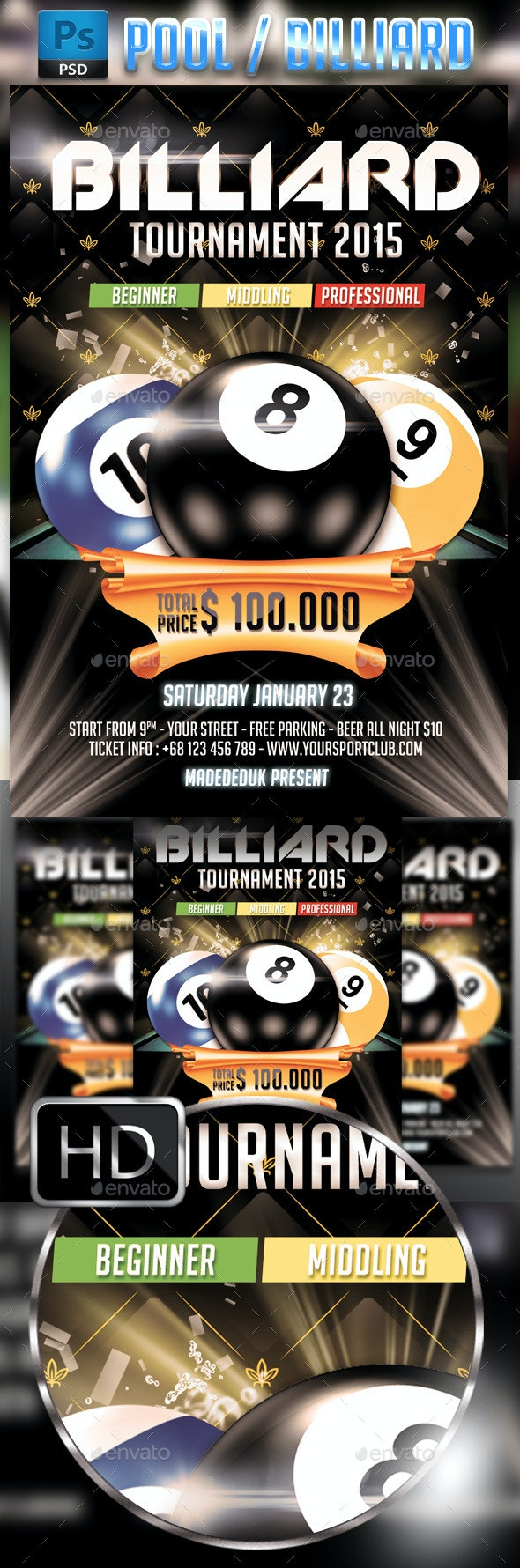 Billiard - Pool Flyer Template - Clubs & Parties Events