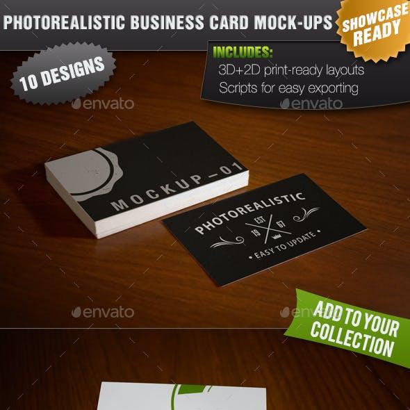 10 Showcase Photorealistic Business Card Mock-ups