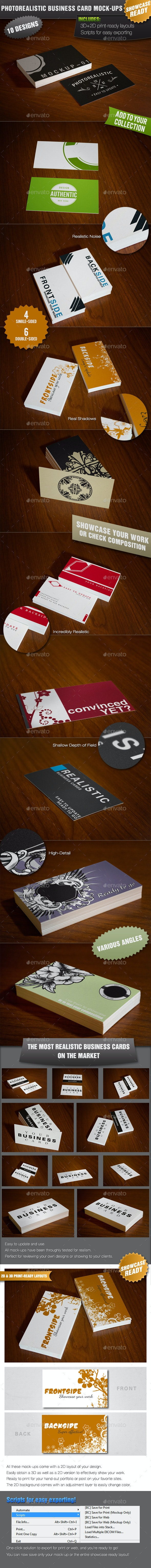 10 Showcase Photorealistic Business Card Mock-ups - Business Cards Print