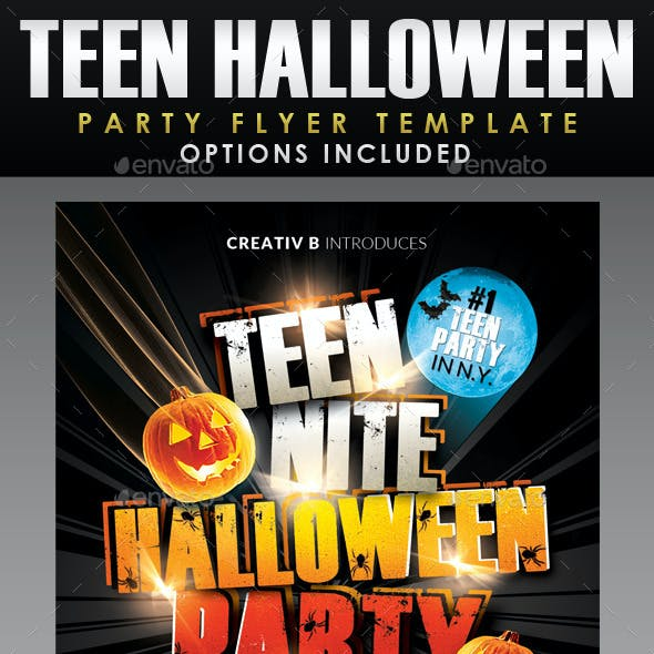 Teen Night Halloween Party Flyer Template