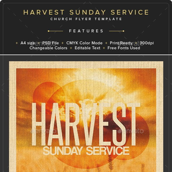 Harvest Sunday Service Flyer Template