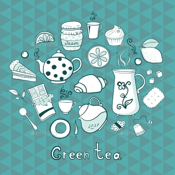 Tea and Sweets Icons Set