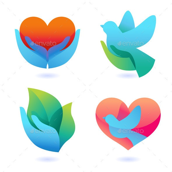 Vector Set with Signs of Love and Care - Conceptual Vectors