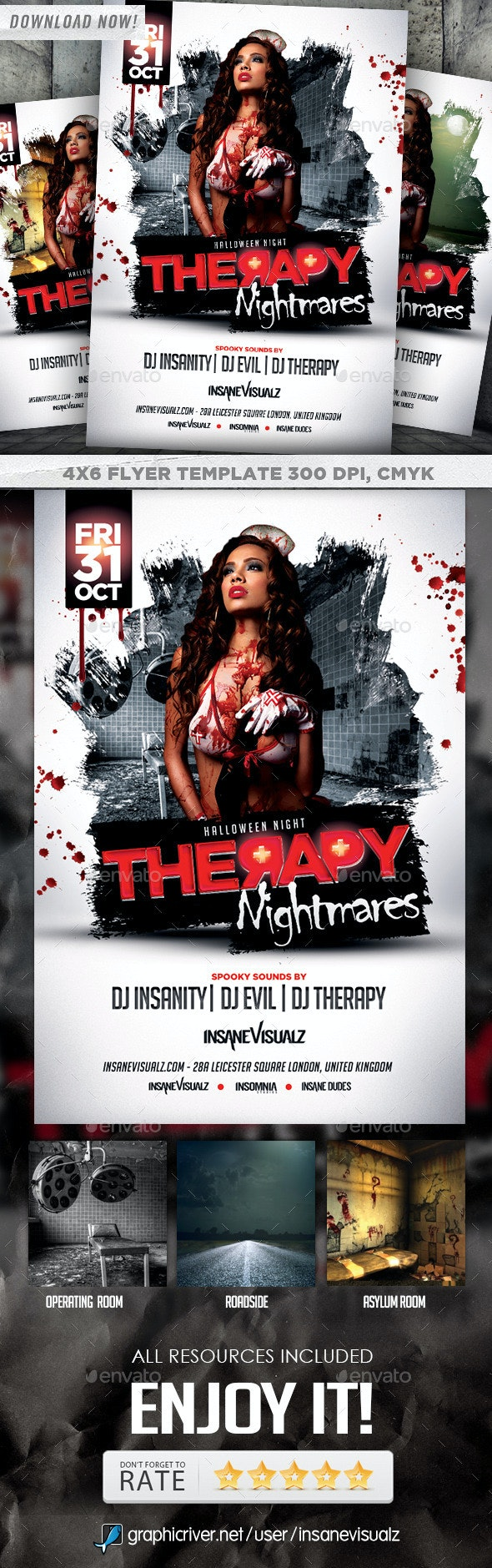 Therapy Nightmares Halloween Flyer - Holidays Events
