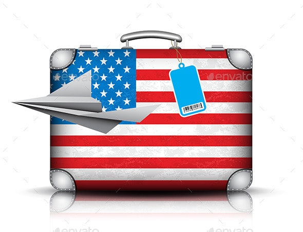 USA Suitcase - Objects Vectors