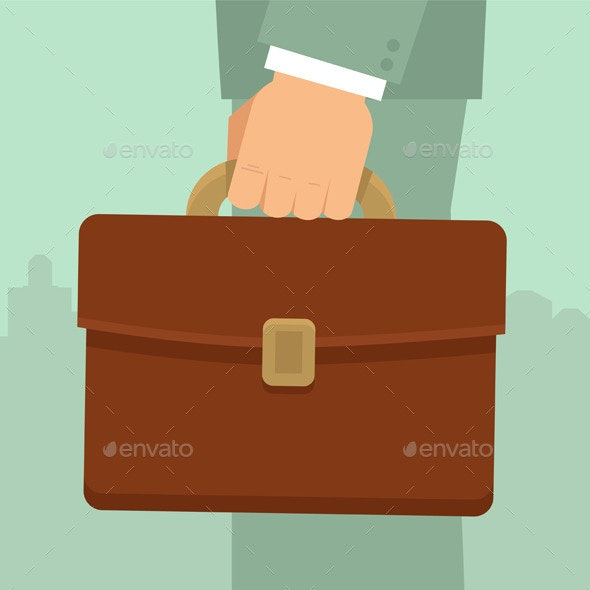 Vector Businessman's Hand Holding Briefcase - Business Conceptual
