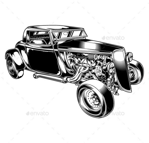 Hot Rod Vector - Man-made Objects Objects