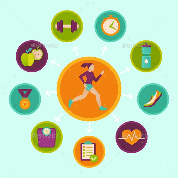 Vector Fitness Infographics Design Elements - Sports/Activity Conceptual