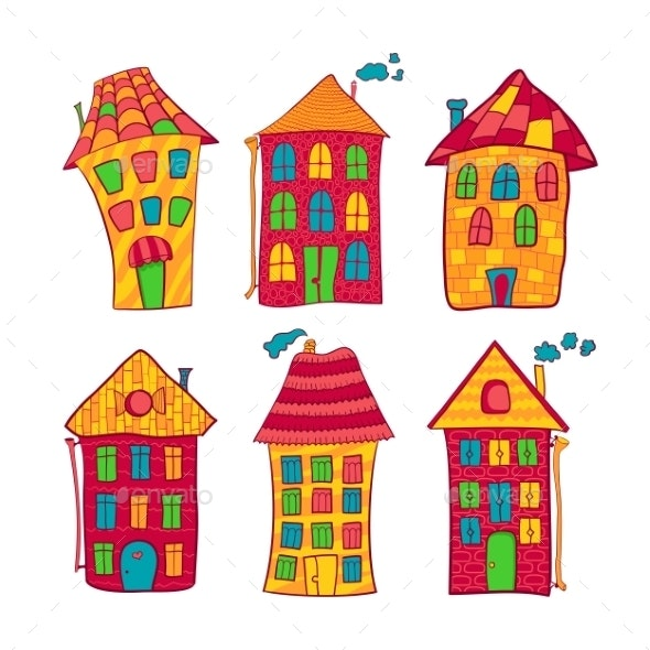 Set Colorful Houses in Cartoon Style - Buildings Objects