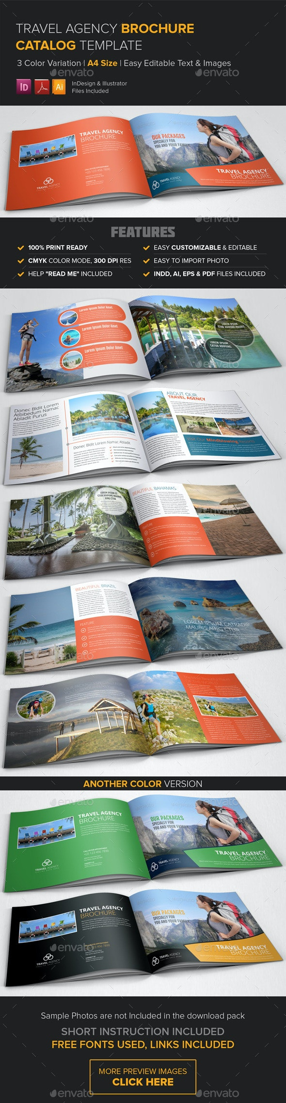 Travel Agency Brochure Catalog Template  - Corporate Brochures