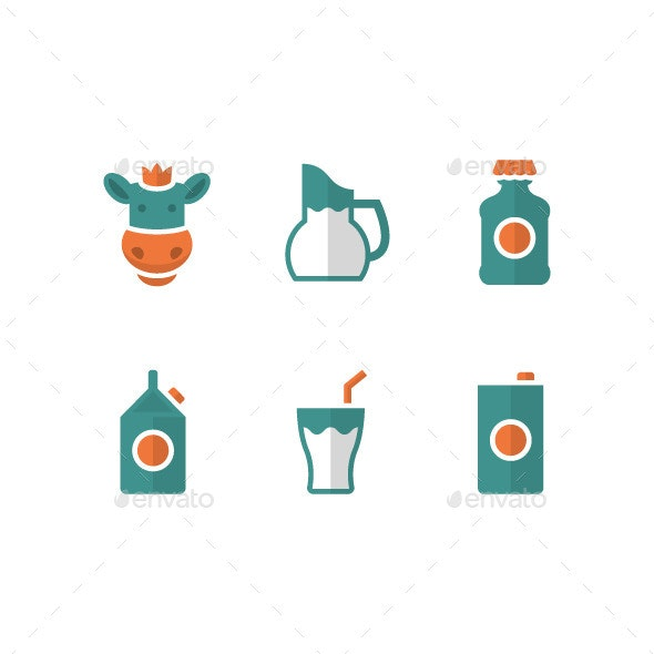 Set Flat Icons of Milk - Food Objects