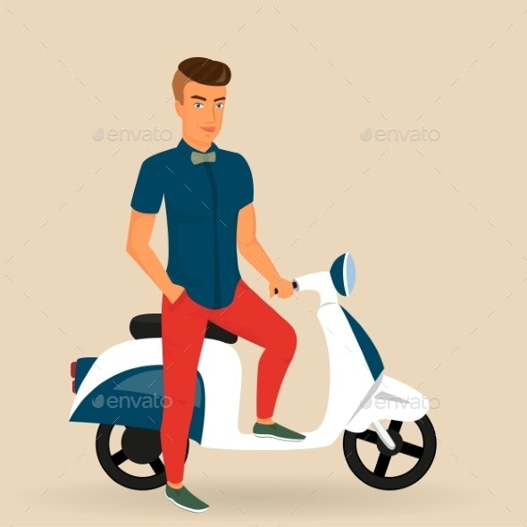 Hipster Guy Wearing Stylish Rides his Motorbike - People Characters