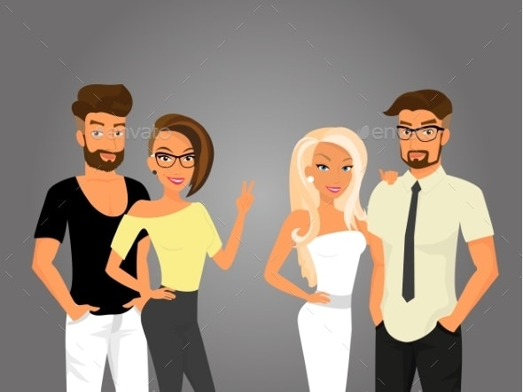 Hipster Guys and their Pretty Girlfriends - People Characters