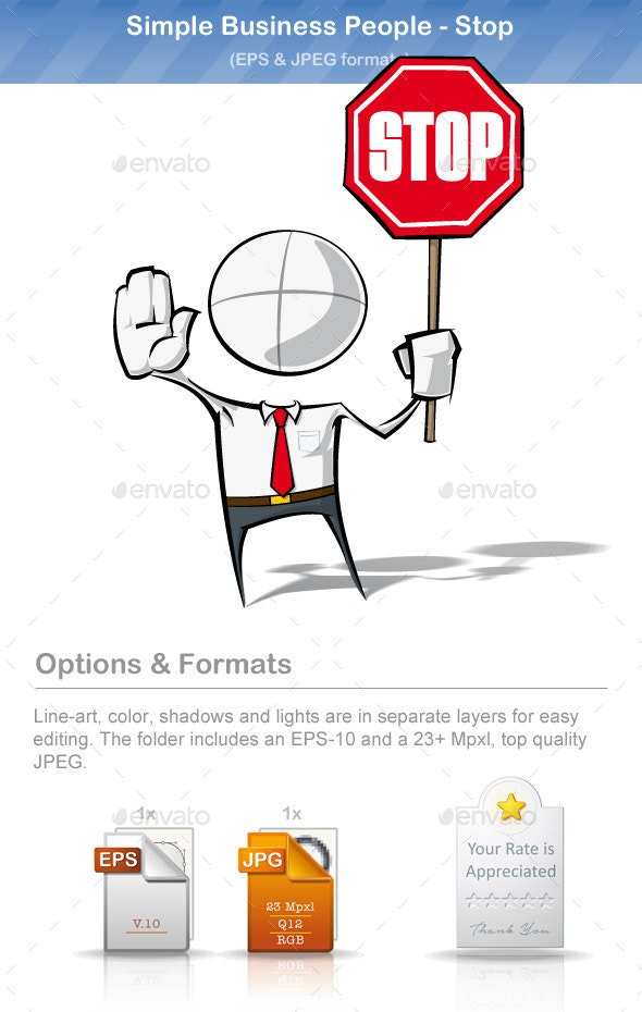 Simple Business People - Stop - People Characters