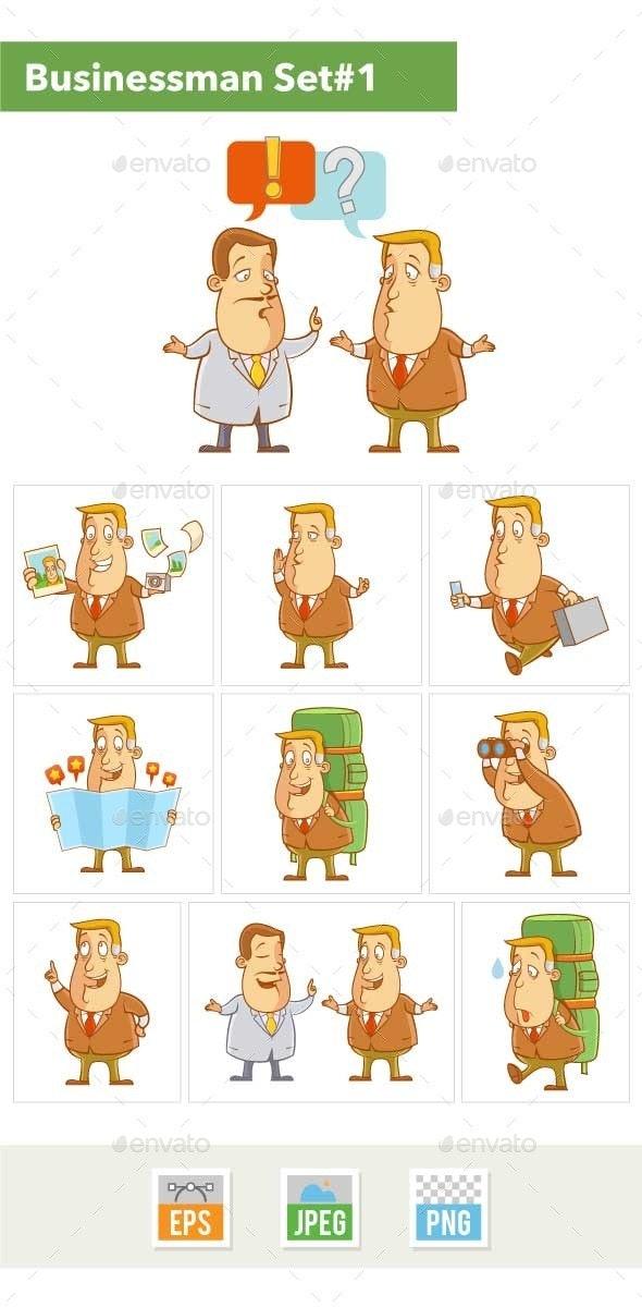 Businessman Cartoon Character Set #1 - People Characters