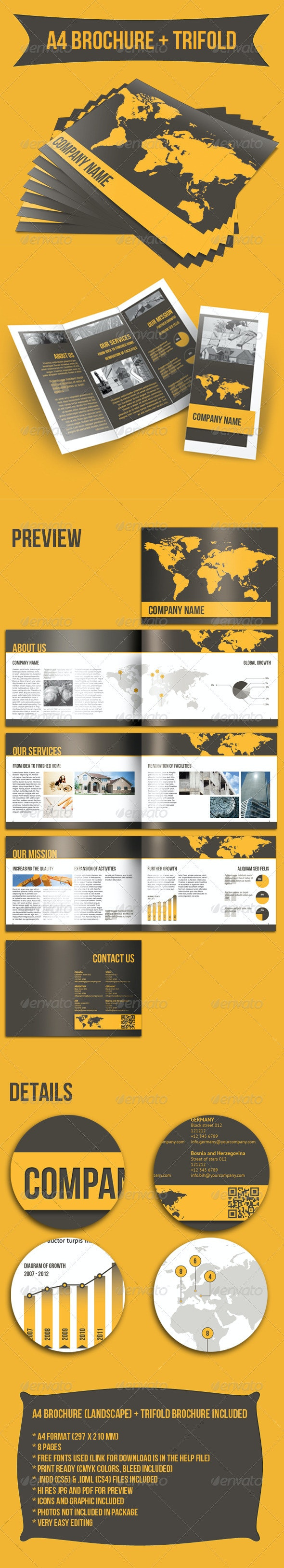 A4 Brochure + Trifold Brochure - Corporate Brochures
