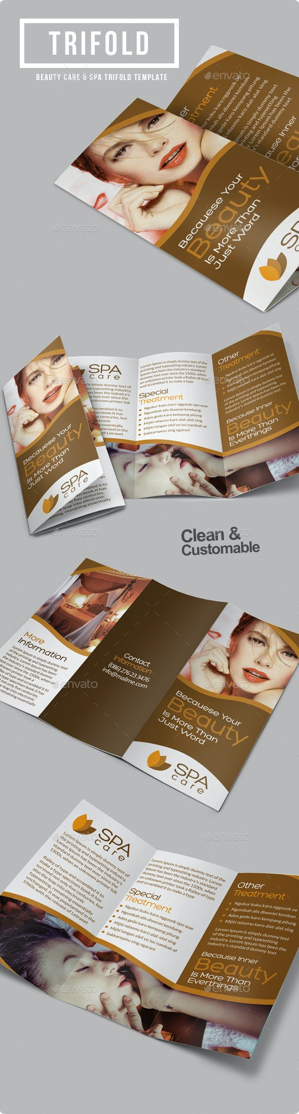 Beauty Care Spa Trifold Brochure - Informational Brochures